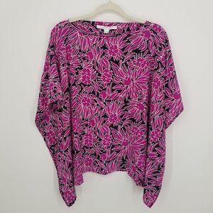 Diane Von Furstenberg Hanky Floral Silk Top Sz L